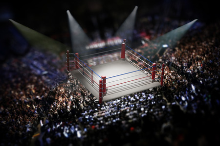 Empty boxing ring surrounded with spectators. 3D illustration