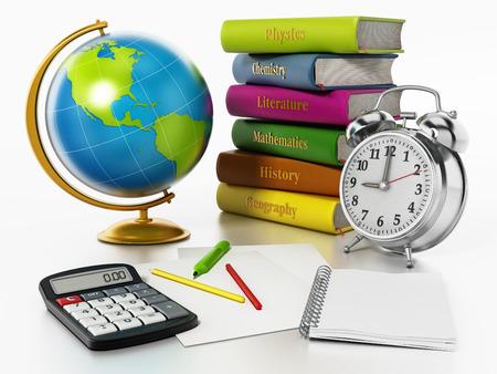 白い背景の上の世界、書籍、時計、ペン sisolated。3 D イラストレーション