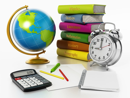 Globe, books, clock and pen sisolated on white background. 3D illustration Stock Photo