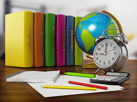 Globe, books, clock and pen sisolated on white background. 3D illustration Stock Photo