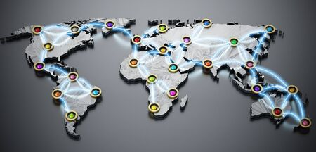 Flight or internet network on 3D world map. 3D illustration.