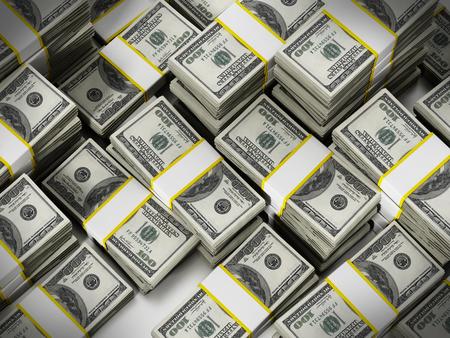 100 Dollar lots stack money background. 3D illustration