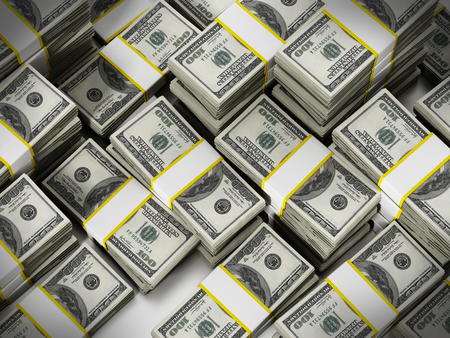 100 Dollar lots stack money background. 3D illustration