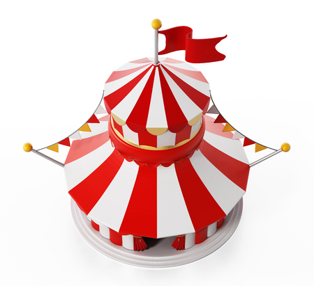 Circus tent isolated on white background. 3D illustration. Stock Photo
