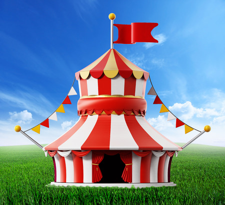 rejected: Circus tent standing on green field against blue sky. 3D illustration. Stock Photo