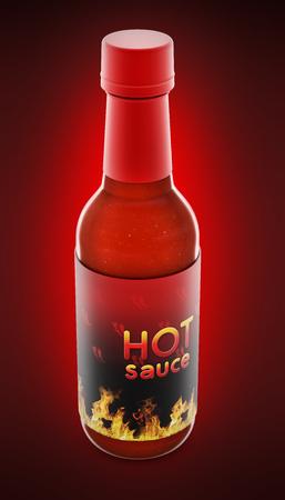 Hot pepper sauce bottle isolated on red background. 3D illustration.