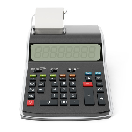 printed machine: Print calculator isolated on white background.3 D illustration.