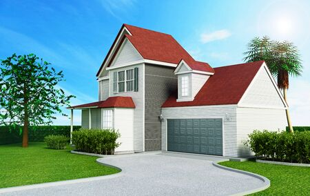 yard sale: Luxurious modern house with a private garage. 3D illustration.