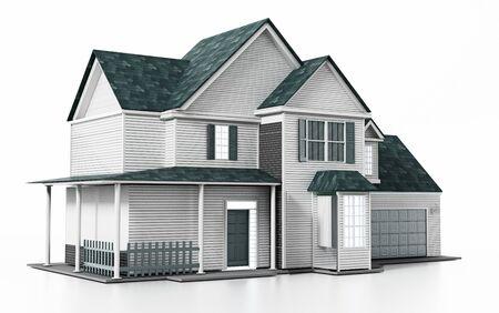 Luxueus modern huis dat op witte achtergrond wordt geïsoleerd. 3D illustratie.