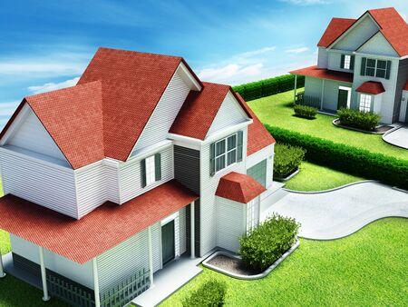 Luxurious modern house with a private garage. 3D illustration. Stock Illustration - 83254409