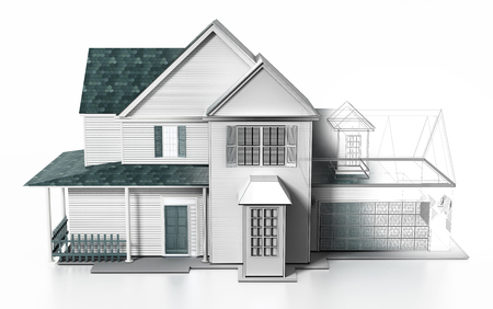 Luxurious modern house with wireframe rendered parts. 3D illustration. Stock Photo