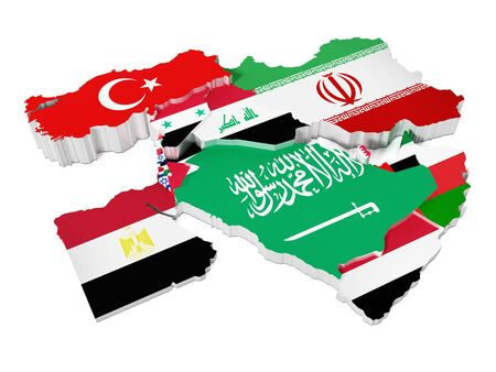 yemen: Middle East countries covered with country flags. 3D illustration.