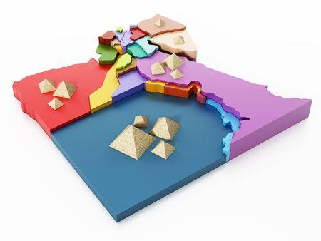 bandera de egipto: Egypt map with regions and pyramids. 3D illustration. Foto de archivo