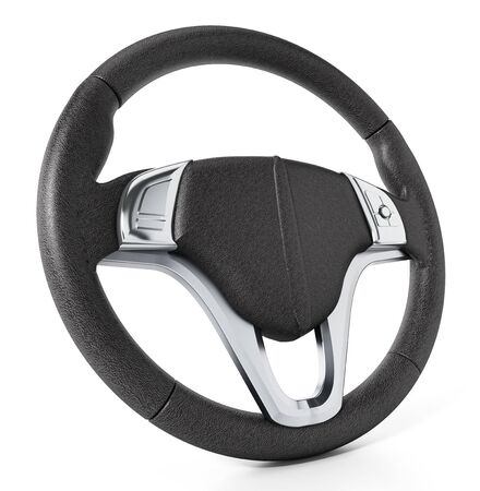 Steering wheel isolated on white background. 3D illustration. Фото со стока - 83557144