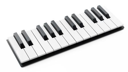 Piano keys isolated on white background. 3D illustration.