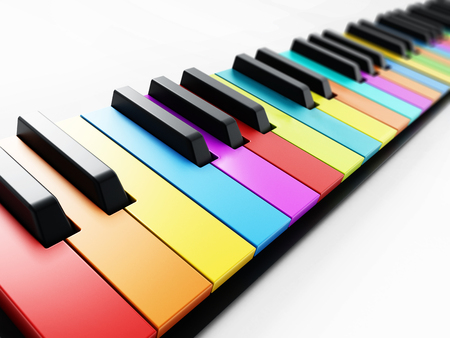 Multi colored piano keys background. 3D illustration. Stock Photo