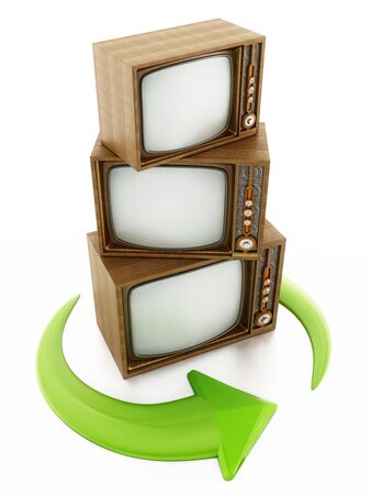 Green turning arrows around vintage televisions. 3D illustration.