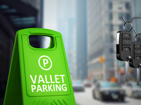 Car keys and vallet parking board on big city background. 3D illustration.