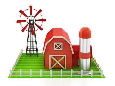 Farmhouse With Windmill And Silo Standing On Green Area 3D Illustration