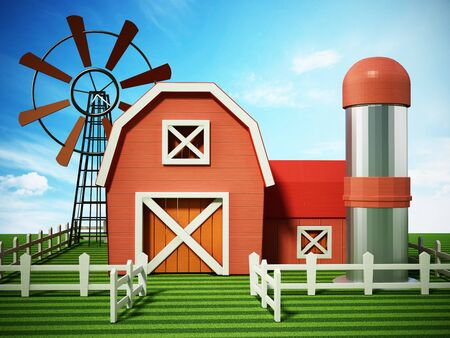 Farmhouse with windmill and silo standing on green area. 3D illustration.