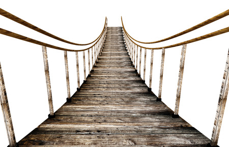 Old wooden suspended bridge isolated on white background. 3D illustration. Zdjęcie Seryjne