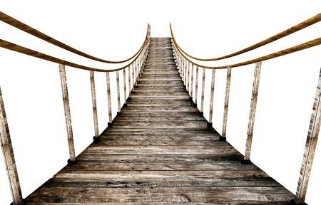 Oude houten hangbrug geïsoleerd op een witte achtergrond. 3D illustratie. Stockfoto