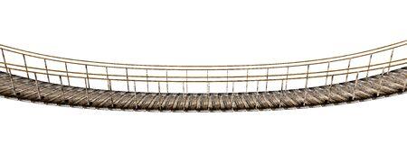 rope bridge: Old wooden suspended bridge isolated on white background. 3D illustration. Stock Photo