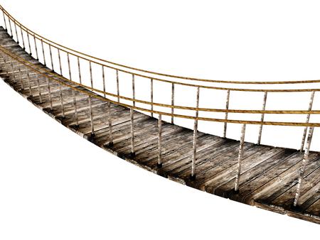 오래 된 목조 일시 중단 된 다리 흰색 배경에 고립. 3D 일러스트 레이션 스톡 콘텐츠 - 84629866