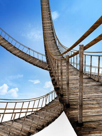 Old wooden suspended bridges against blue sky. 3D illustration. Stok Fotoğraf