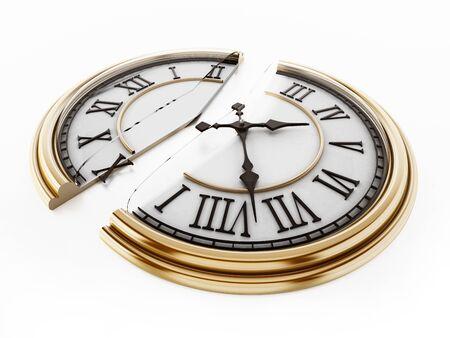 Vintage clock split in half. 3D illustration. Stock Photo