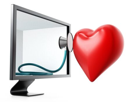 heart monitor: Stethoscope and red heart inside the screen. 3D illustration. Stock Photo