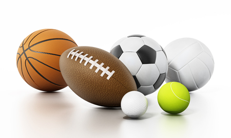 Sports balls isolated on white background. 3D illustration.