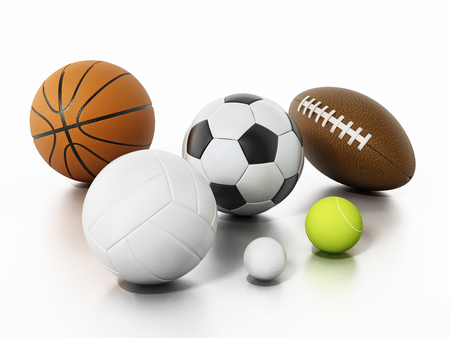 Sports balls isolated on white background. 3D illustration.