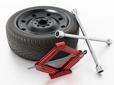 Reserve band, auto jack en wiel wrench geïsoleerd op een witte achtergrond. 3D illustratie. Stockfoto