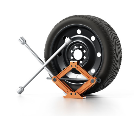 Spare tyre, car jack and wheel wrench isolated on white background. 3D illustration.