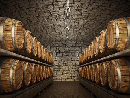 Stocked wine barrels across two sides of corridorof a wine cellar. 3D illustration