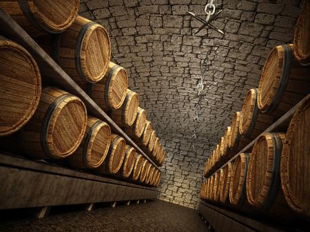 Stocked wine barrels across two sides of corridorof a wine cellar. 3D illustration