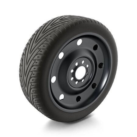 Spare car tyre isolated on white background. 3D illustration.
