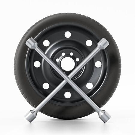 Spare car tyre and wheel nut wrench isolated on white background. 3D illustration. Stock Photo