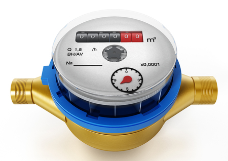 Water meter isolated on white background. 3D illustration.
