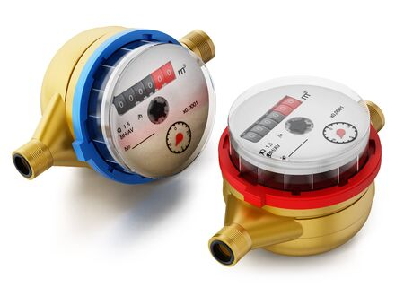 Water meters isolated on white background. 3D illustration. Stock Photo