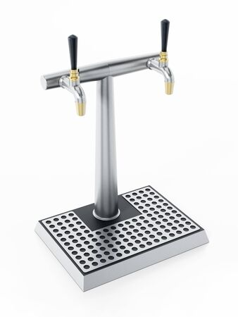 Beer tap isolated on white background. 3D illustration. Stock Photo