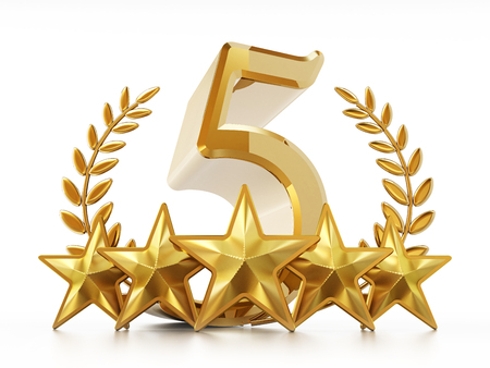Number 5, stars and laurels isolated on white background. 3D illustration.