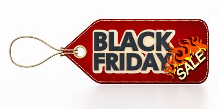 Red Black Friday Sale tag isolated on white background. 3D illustration. Stock Photo