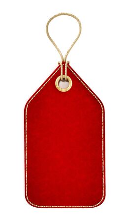Red blank tag isolated on white background. 3D illustration.