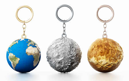 3D Earth, Moon and Mars connected to keychain. 3D illustration.