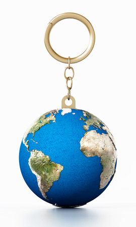 3D earth connected to keychain. 3D illustration.