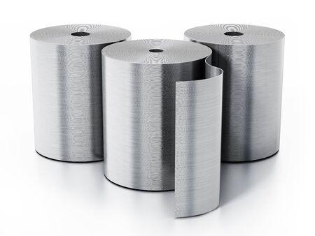 Aluminum sheet rolls isolated on white background. 3D illustration. Stock Photo