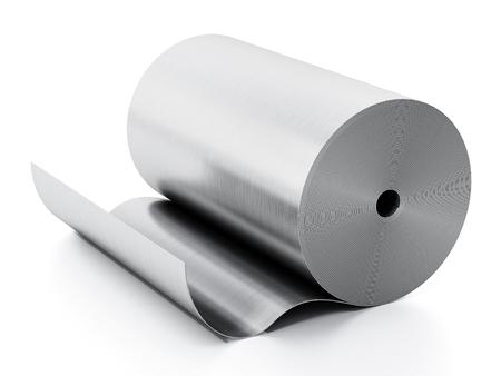 Aluminum sheet roll isolated on white background. 3D illustration. Stock Photo