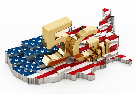 5G word standing on USA map covered with American flag. 3D illustration.